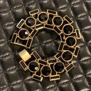Designer Gold Onyx Crystal Statement Bracelet